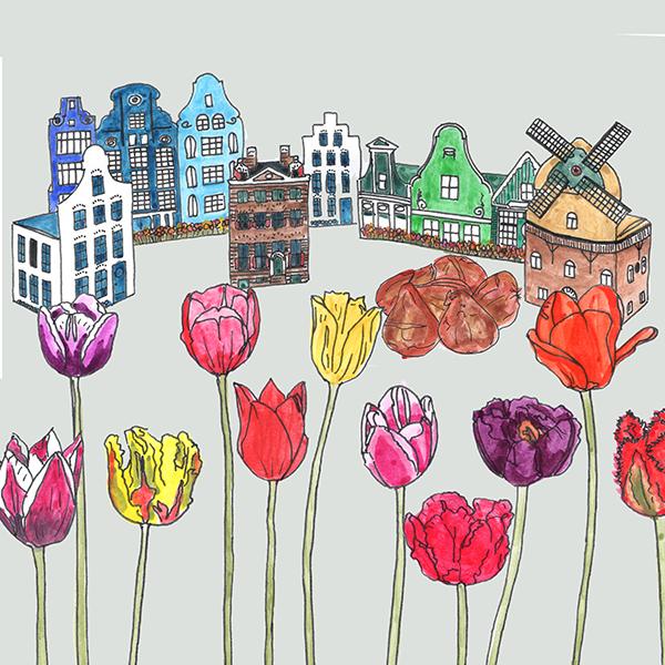 huisjes met bloembollen