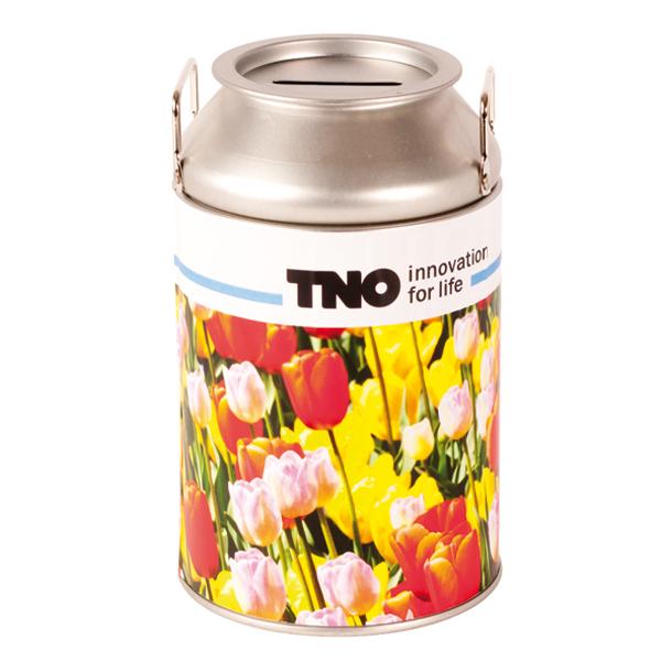 milk can with flower bulbs