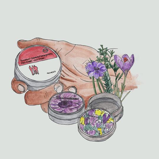 tins with flower bulbs