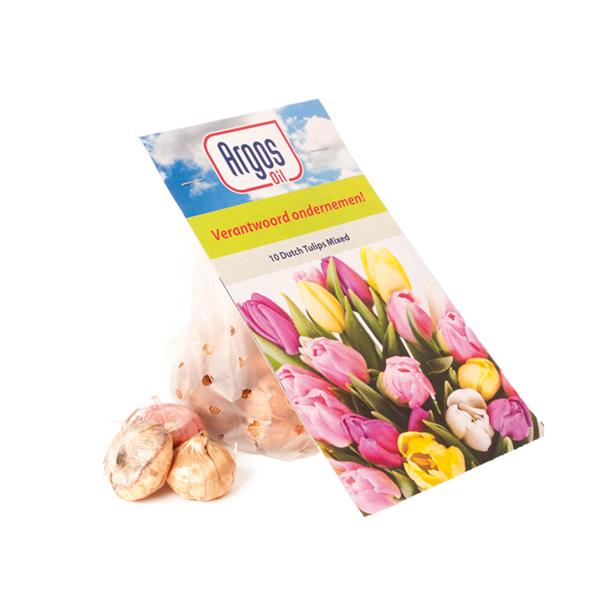 Flower bulbs in bag with flower card