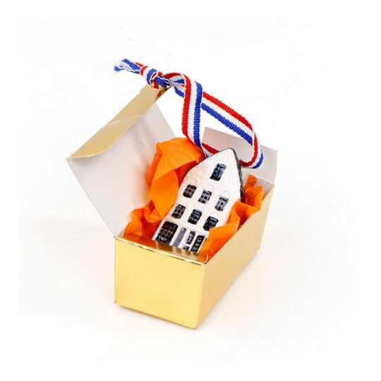 Grachtenhuisje sleutelhanger in gouden doosje